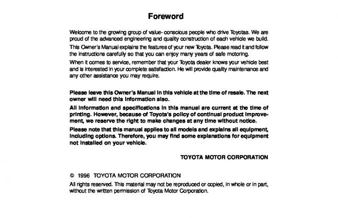 1996 Toyota Corolla Owner's Manual Image