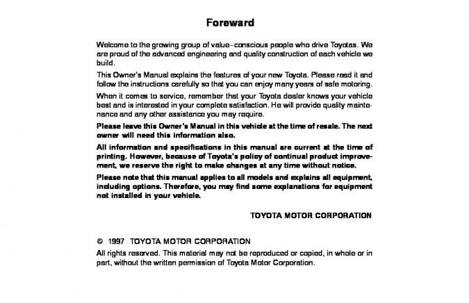 1997 Toyota Corolla Owner's Manual Image