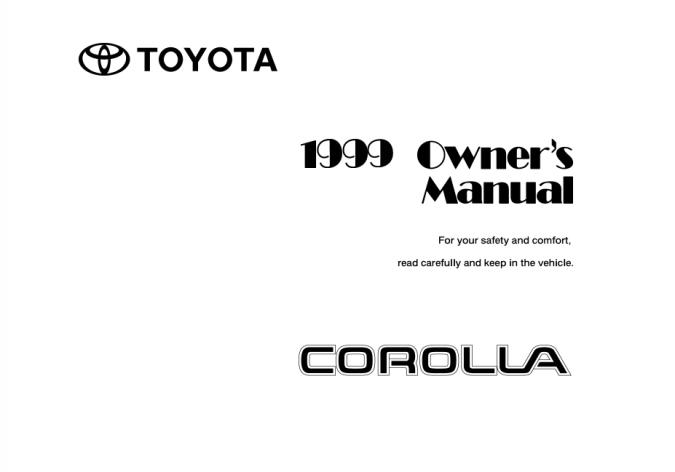 1999 Toyota Corolla Owner's Manual Image