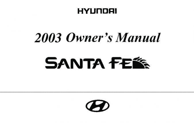 2003 Hyundai Santa-fe Owner's Manual Image