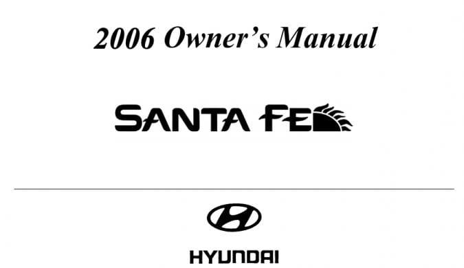 2006 Hyundai Santa Fe Owner's Manual Image