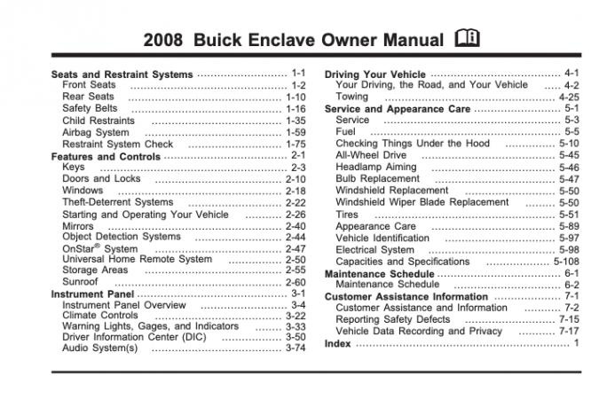 2008 Buick Enclave Owner's Manual Image