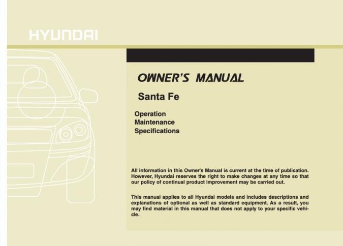 2010 Hyundai Santa Fe Owner's Manual Image