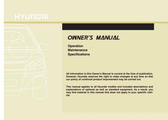 2011 Hyundai Santa Fe Owner's Manual Image