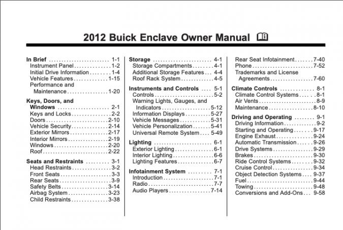 2012 Buick Enclave Owner's Manual Image